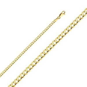 Jewelry - New 14k Yellow Gold Solid 3mm Cuban Chain